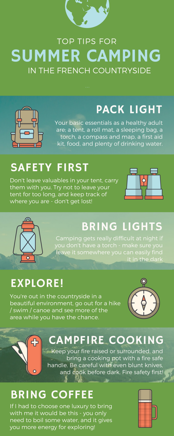 summer camping in the french countryside infographic