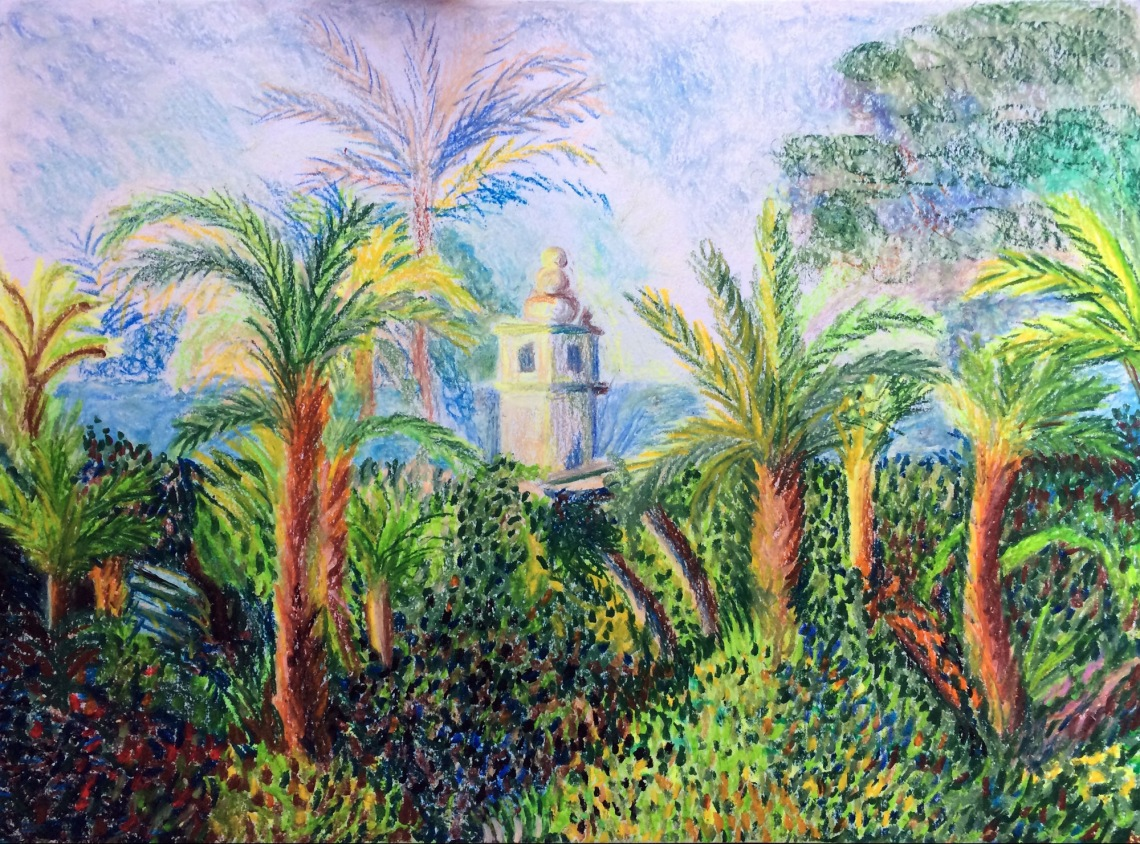 Oil pastel drawing inspired by Monet's Garden in Bordighera . oil painting